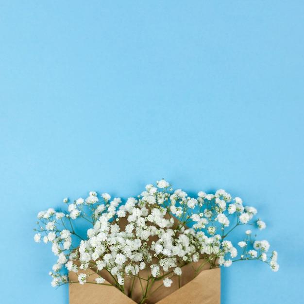Высокий угол обзора белого младенца дыхание цветов с коричневым конвертом на синем фоне Бесплатные Фотографии