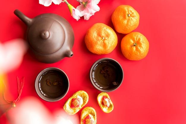 Китайская новогодняя композиция с чаем Бесплатные Фотографии