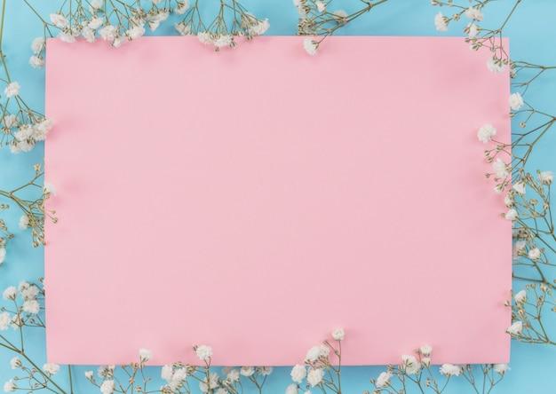 花と紙のフレームシート 無料写真