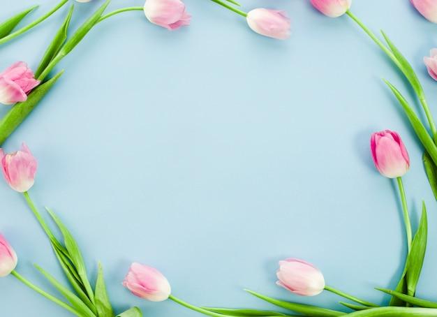 青いテーブルの上のチューリップから作られたフレーム 無料写真
