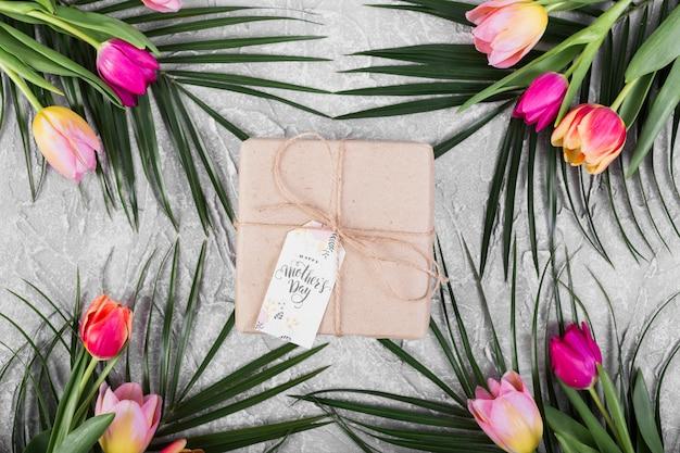 Подарочная коробка на день матери, тюльпаны и пальма Бесплатные Фотографии
