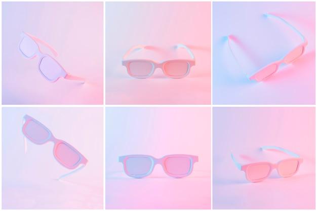 色付きの背景に対してピンクの塗られた眼鏡のセット 無料写真