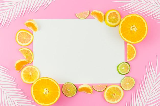 白紙の紙、柑橘系の果物とヤシの葉 無料写真