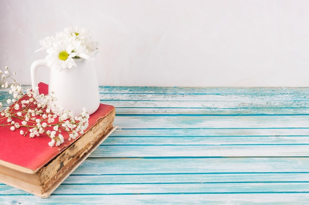 Цветы ромашки в белом кувшине на книге Бесплатные Фотографии