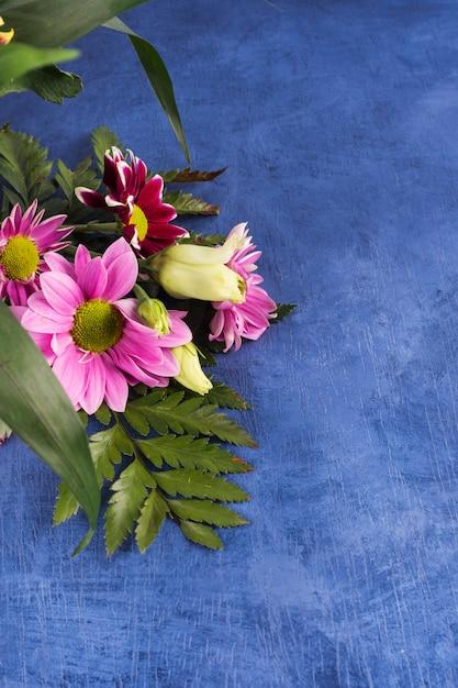 紫色の花と熱帯植物の組成 無料写真