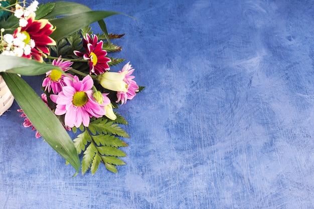 色とりどりの花と熱帯植物の組成 無料写真