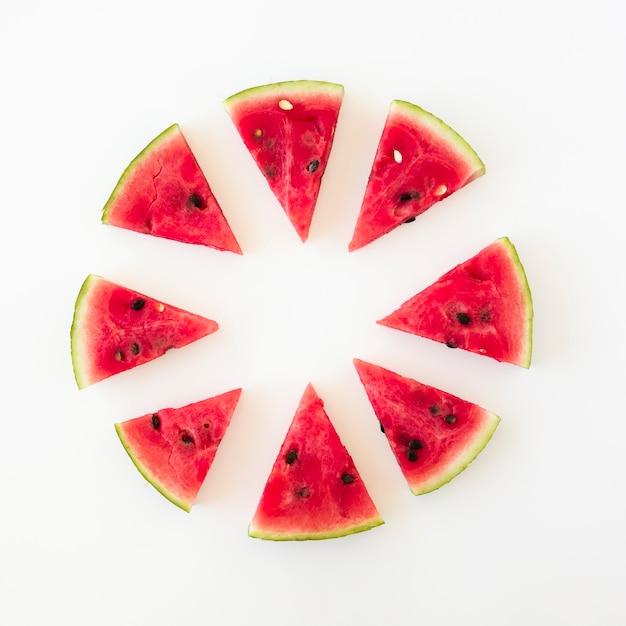 白い背景の上の三角形のスイカのスライスで作られた円形のデザイン 無料写真