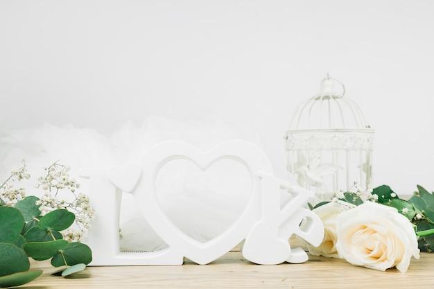 花でロマンチックな飾り 無料写真