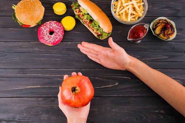 健康的で不健康な食べ物 無料写真
