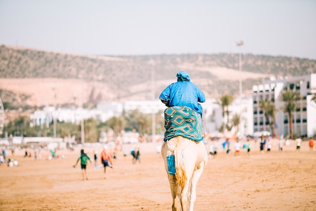 砂漠の風景の中の観光客 無料写真