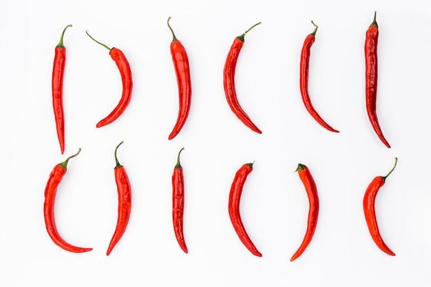 チリとフラットレイアウトメキシコ料理組成 無料写真
