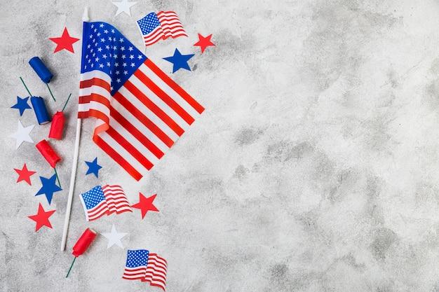 Плоская планировка декора дня независимости сша Бесплатные Фотографии