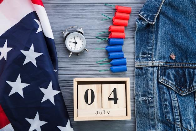 Вид сверху аксессуаров ко дню независимости сша Бесплатные Фотографии