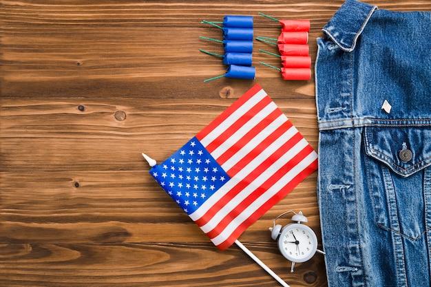 Вид сверху атрибутов дня независимости сша Бесплатные Фотографии