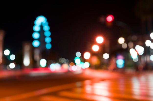 ぼやけた街の灯 無料写真