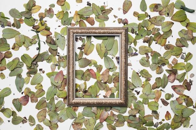 Плоская планировка рамки с цветочной концепцией Бесплатные Фотографии