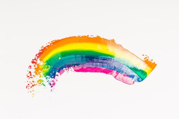 白い背景の上のブラシの虹ストローク 無料写真