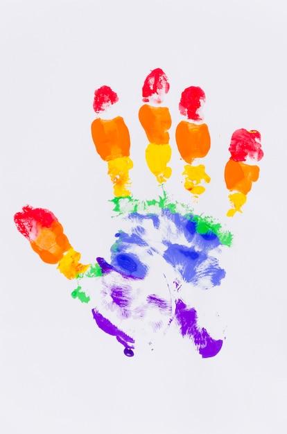 プライドフラグの色の手形 無料写真