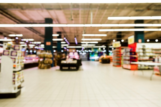 ぼやけ効果を持つスーパーマーケット 無料写真