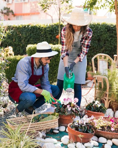 男性と女性の庭師が庭で一緒に働いて 無料写真