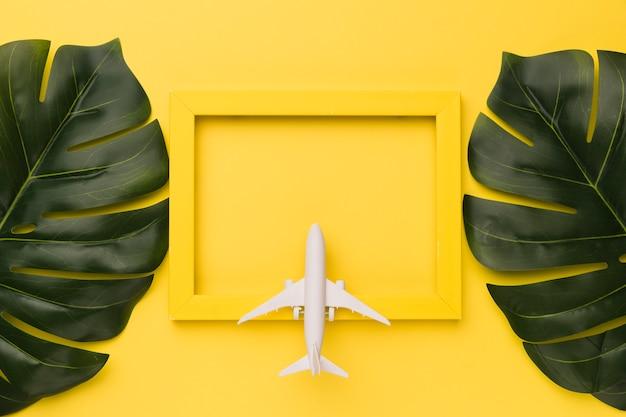 黄色のフレームと植物の葉に小さな飛行機の組成 無料写真
