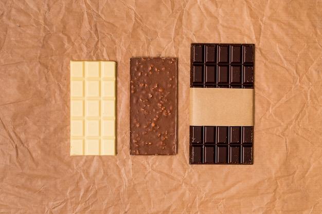 チョコレートバーの上から見る 無料写真