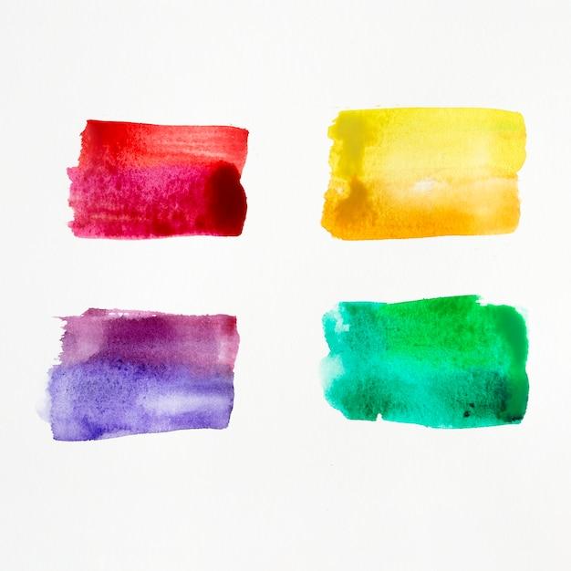 カラフルな水彩ブラシストローク 無料写真
