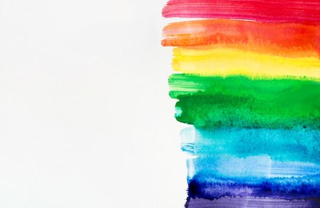 虹色の水彩ブラシストローク 無料写真