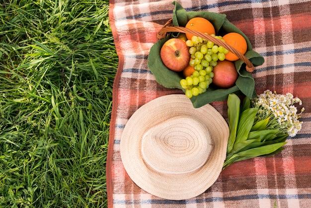 緑の芝生の上でピクニックのための掛け布団 無料写真