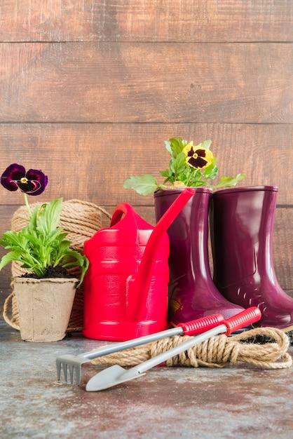 パンジー鉢植え。じょうろ;ガーデニングツール。ロープ;木製の壁に対してラバーブーツ 無料写真