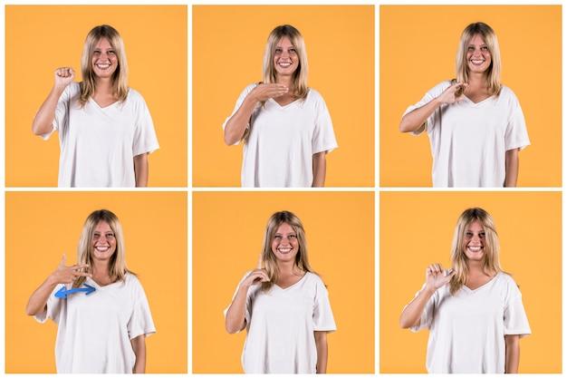 別の聴覚障害者の記号のアルファベットを示す女性のセット 無料写真