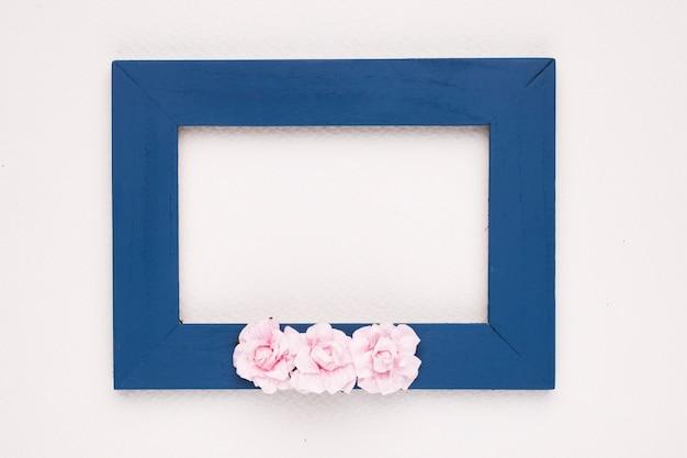 白い背景の上の青い境界線フレームにピンクのバラ 無料写真