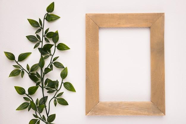 Искусственное зеленое растение возле деревянного каркаса на белом фоне Бесплатные Фотографии