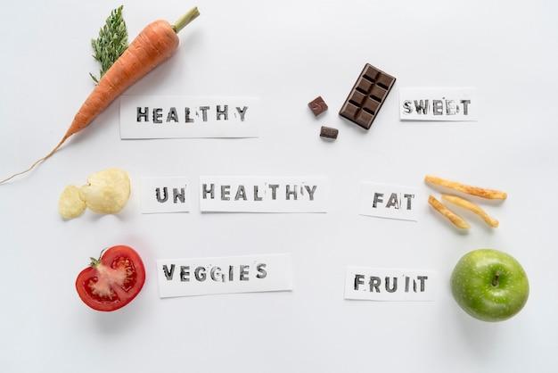 白い背景上に分離されて様々なテキストで健康的で不健康な食べ物 無料写真