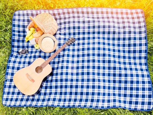 ピクニックバスケットとギターの市松模様の格子縞を牧草地に広げる 無料写真