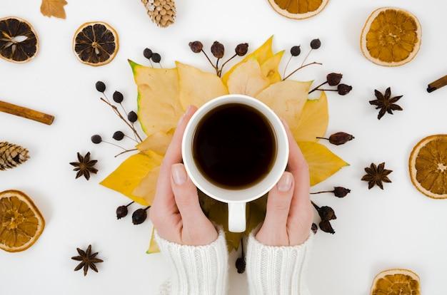 トップビュー紅葉、コーヒー 無料写真