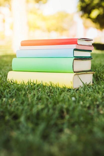 緑の芝生の上の明るい本スタック 無料写真