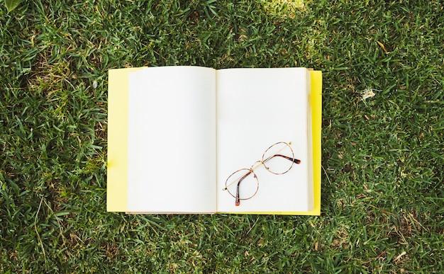 草原の上の眼鏡と空白の本 無料写真