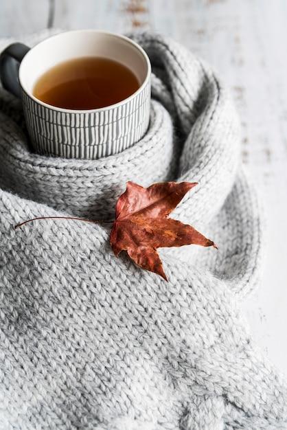 灰色のスカーフと乾いた葉で飲む 無料写真