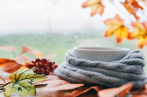 カエデの葉とニットスカーフの白いカップ 無料写真