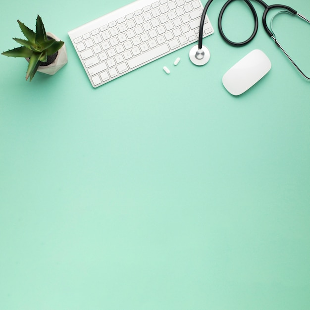 錠剤と多肉植物の聴診器の近くのワイヤレスキーボードとマウスのオーバーヘッドビュー 無料写真