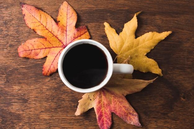 木製の背景に紅葉のコーヒーカップ 無料写真