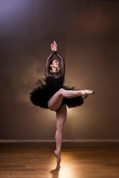 楽しく踊る正面バレリーナ 無料写真