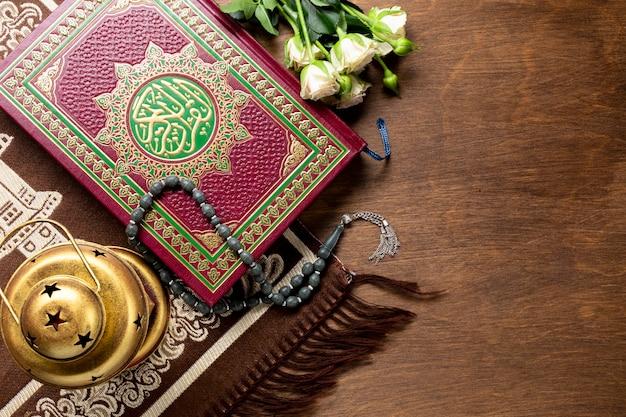 祈りのための平面図アラビアの伝統的なアイテム 無料写真