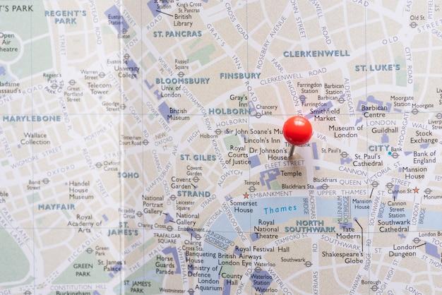 Уэст-энд карты лондона с булавкой Бесплатные Фотографии