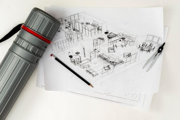 鉛筆の蟻の管が付いている平らな建築スケッチ 無料写真