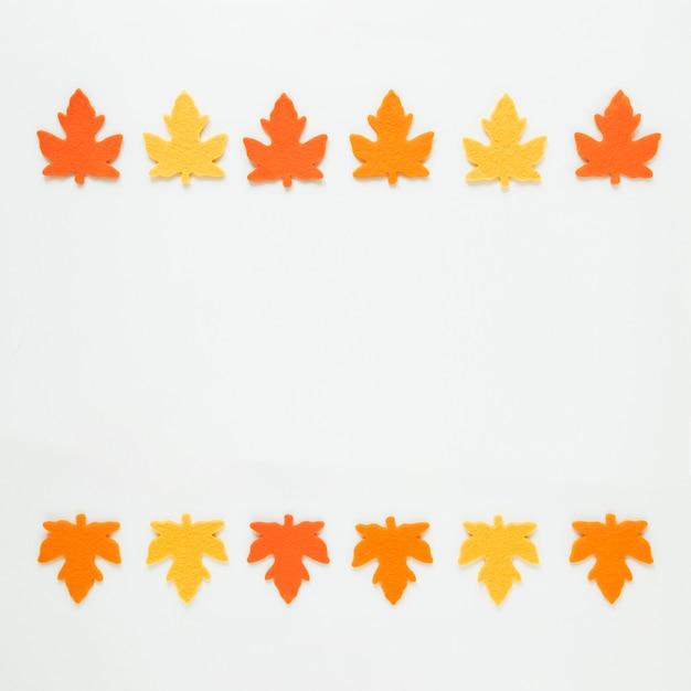 Вид сверху осенние листья с копией пространства Бесплатные Фотографии