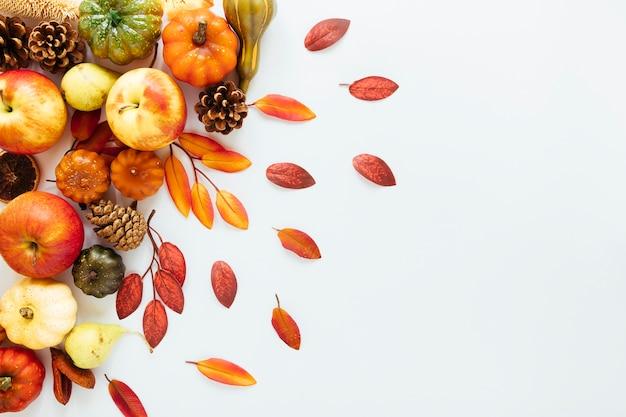 白い背景の上のトップビュー秋のアレンジメント 無料写真