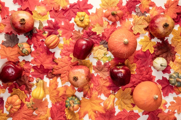 フラットレイアウト食品配置の葉の背景 無料写真