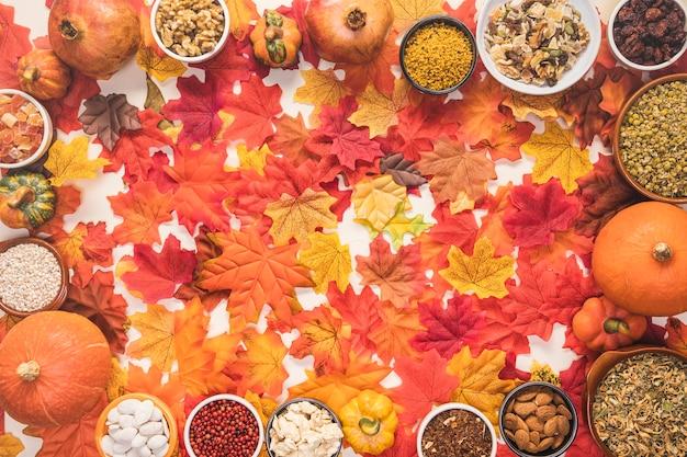 円形の食品フレームの葉の背景 無料写真